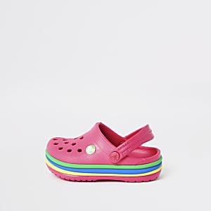Mini - Roze regenboog-clogs van Crocs voor meisjes