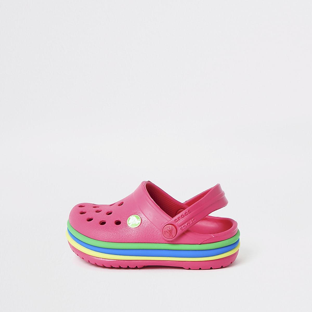 info pour 5c0e2 35d6e Mini girls Crocs pink rainbow clogs