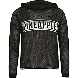 """Langärmeliger Hoodie """"Pineapple"""" aus schwarzem Netzstoff für Mädchen"""