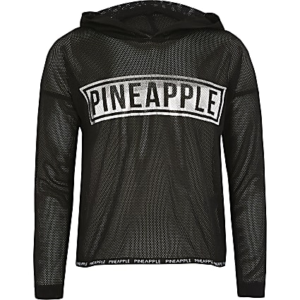 Girls Pineapple black mesh long sleeve hoodie