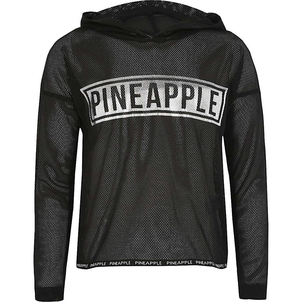Girls Pineapple black mesh long sleeve hoodie