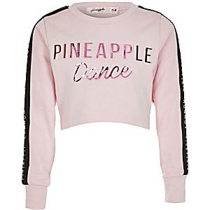 Pineapple – Schwarzes Crop Top mit Prägung für Mädchen