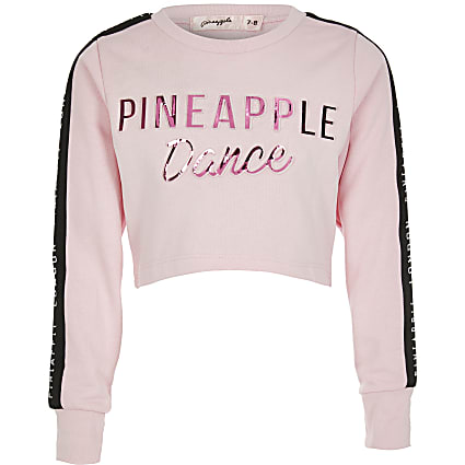 Girls Pineapple pink embossed crop top