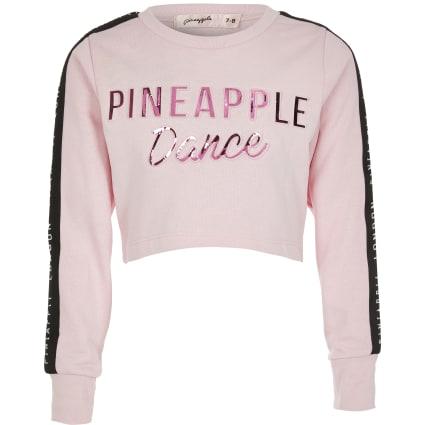 Girls Pineapple pink embossed crop top