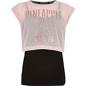 Pineapple pinkfarbenes T-Shirt mit Mesh-Einsatz im Lagenlook für Mädchen