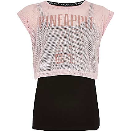 Girls Pineapple pink layered mesh T-shirt