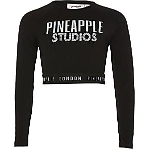 Pineapple - Zwarte crop top met print voor meisjes