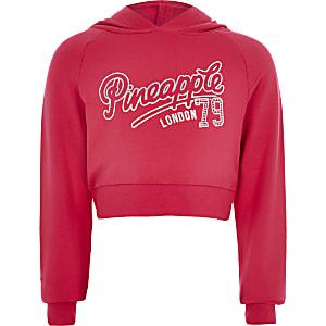 Pineapple – Pinkfarbener, kurzer Hoodie mit Print für Mädchen