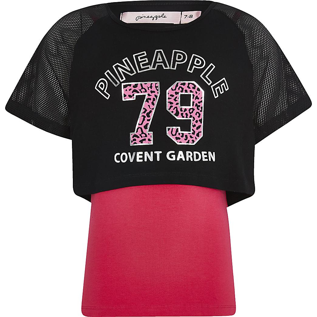 Girls Pineapple black 2 layer printed T-shirt