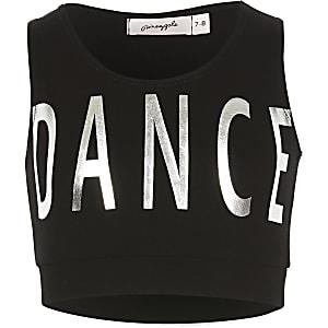 Pineapple - Zwarte crop top met 'Dance'-tekst voor meisjes
