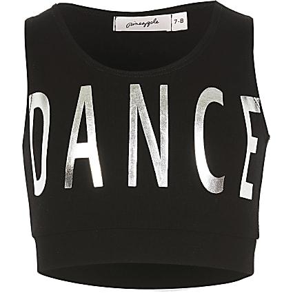 Girls Pineapple black 'Dance' crop top
