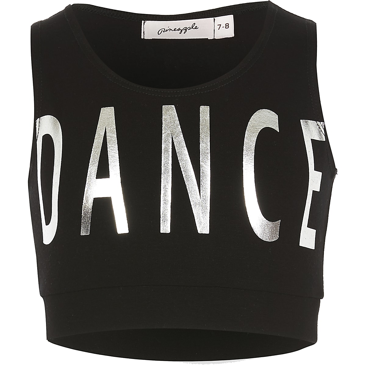 Girls Pineapple black 'Dance' crop top