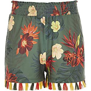 Short kaki à fleurs et pampilles pour fille