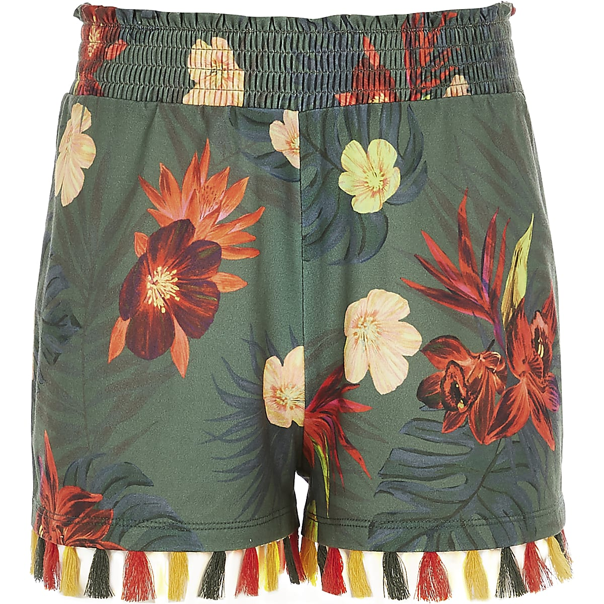 Girls khaki floral tassel shorts