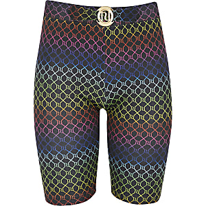 Girls RI rainbow print cycling shorts