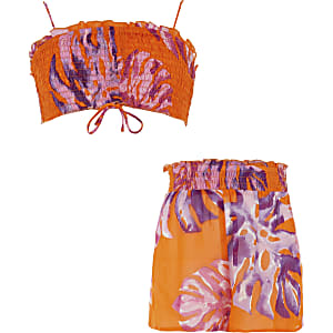 Ensemble motif floral orange Mini fille