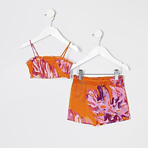 Mini - Oranje strandoutfit met bloemenprint voor meisjes
