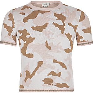T-shirt en maille camouflage rose pour fille