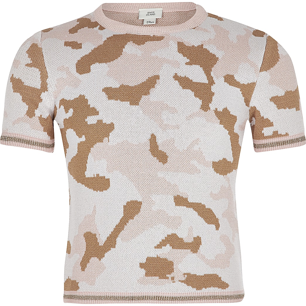 Girls pink camo knitted T-shirt