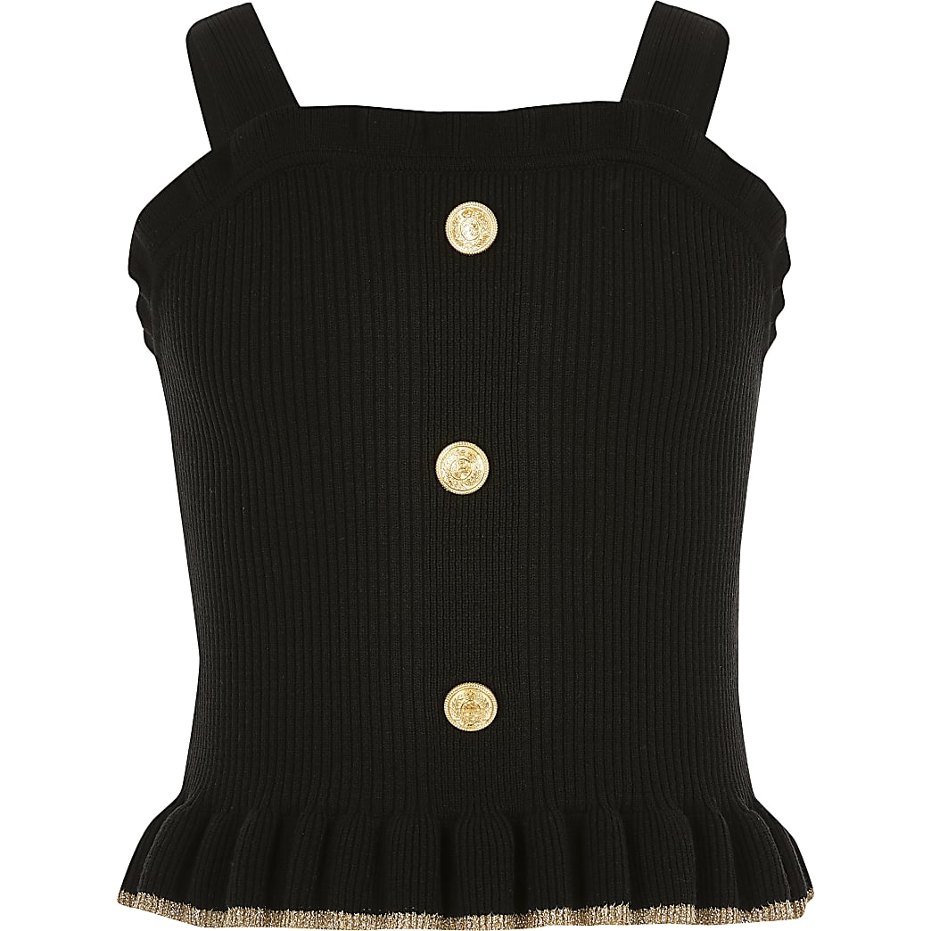 Girls black frill hem knit cami top