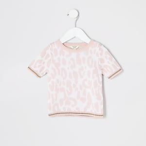 Mini girls pink leopard t-shirt