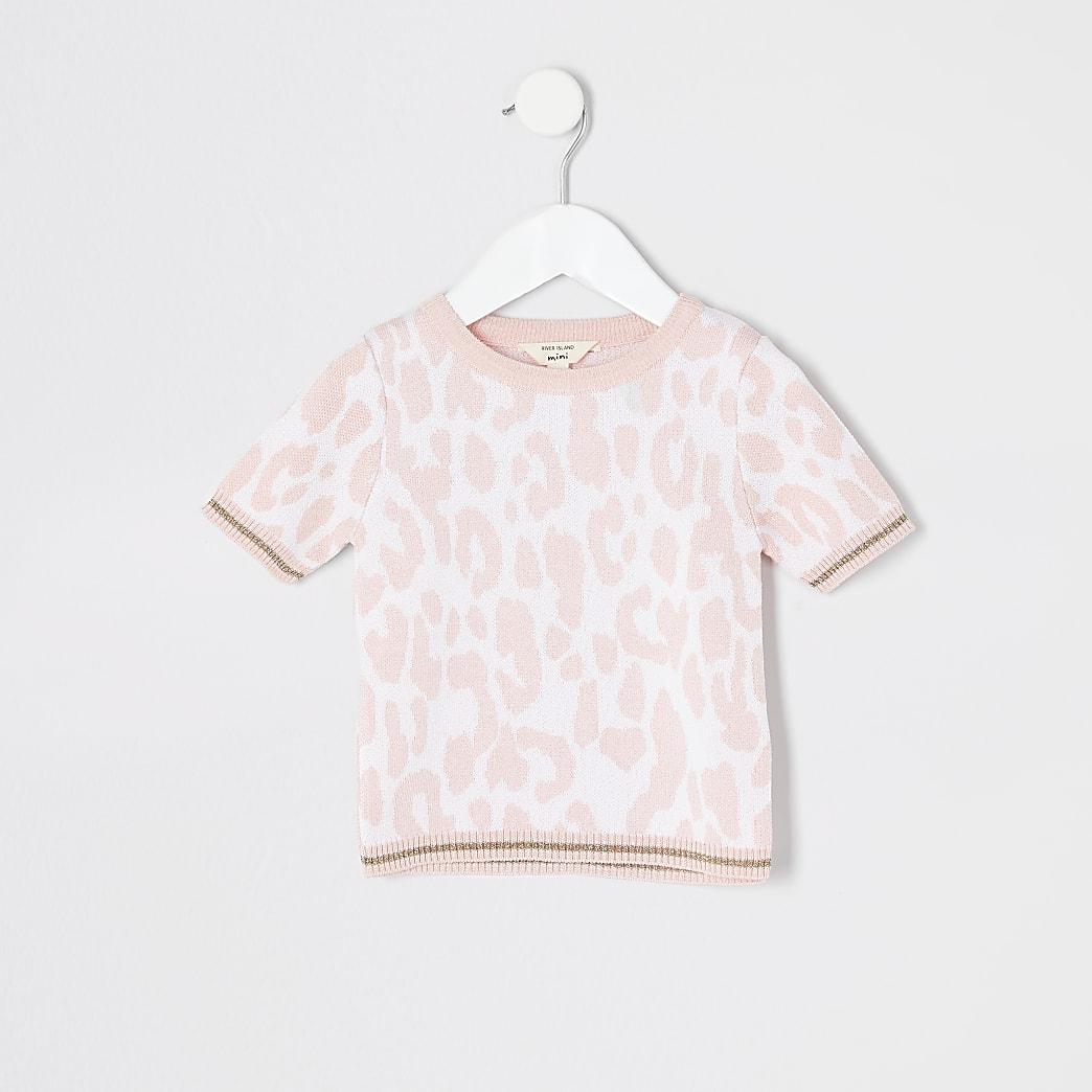 Mini - Roze T-shirt met luipaardprint voor meisjes