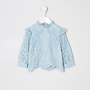 Mini - Blauwe kanten top met lange mouwen voor meisjes