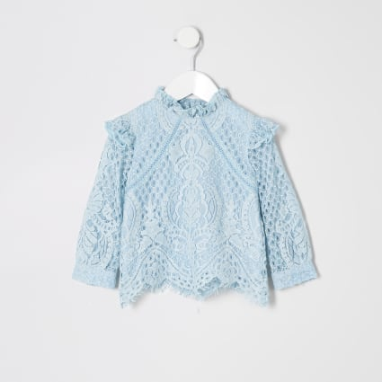 Mini girls blue long sleeve lace top