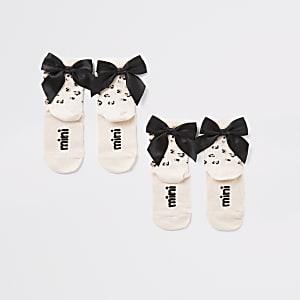 Mini - Roze sokken met strik en luipaardprint set van 2