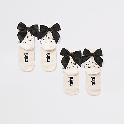 Mini girls pink leopard bow sock 2 pack