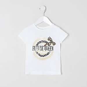 Mini - Wit T-shirt met 'Future queen-print voor meisjes
