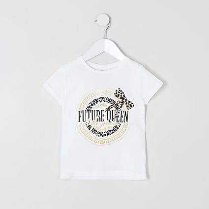 Mini girls white 'Future queen' T-shirt