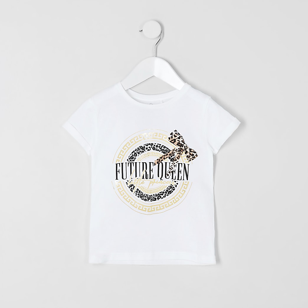 Mini girls white 'Future queen' T-shirt