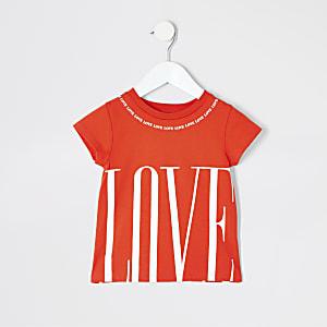 Mini - Rood T-shirt met 'love'-print voor meisjes
