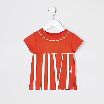 Mini girls red 'Love' print T-shirt
