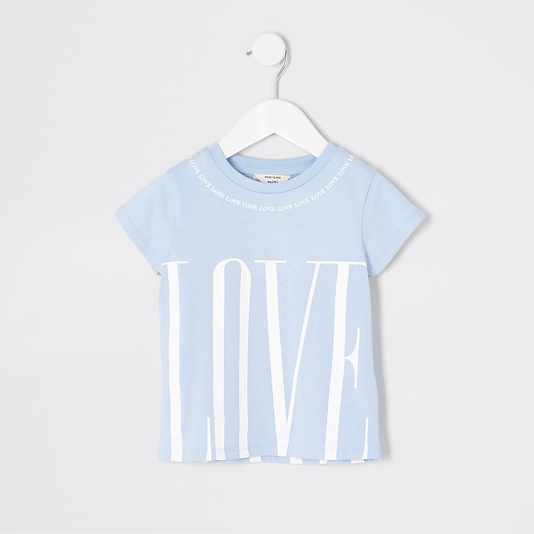 Mini girls blue 'Love' print T-shirt
