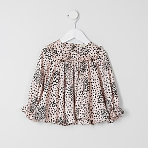 Mini girls pink heart print top