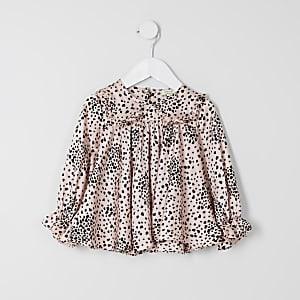 Roze top met hartenprint voor mini girls