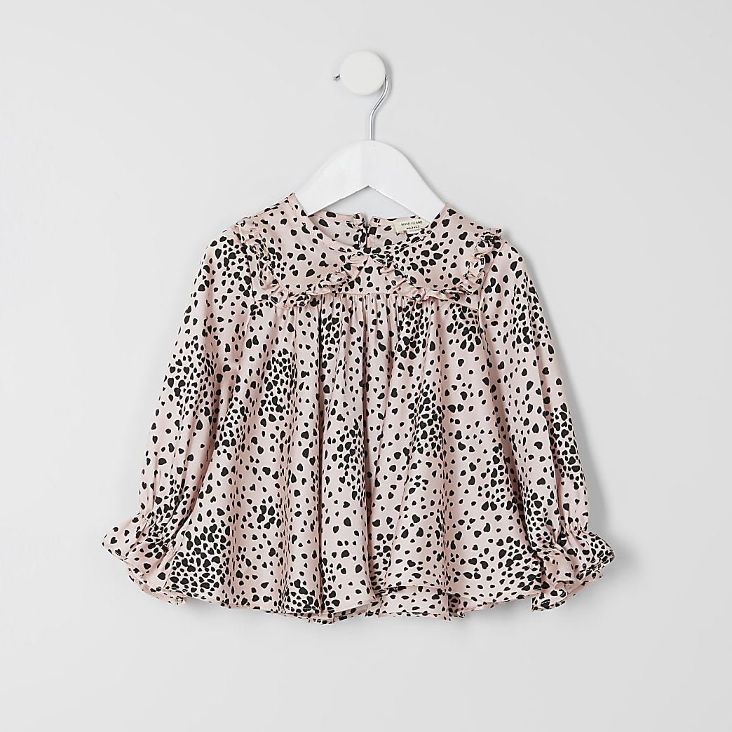 Mini girls pink heart print top