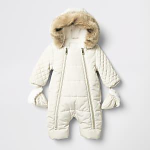 Gesteppter Schneeanzug für Säuglinge mit Reißverschluss vorne in Creme