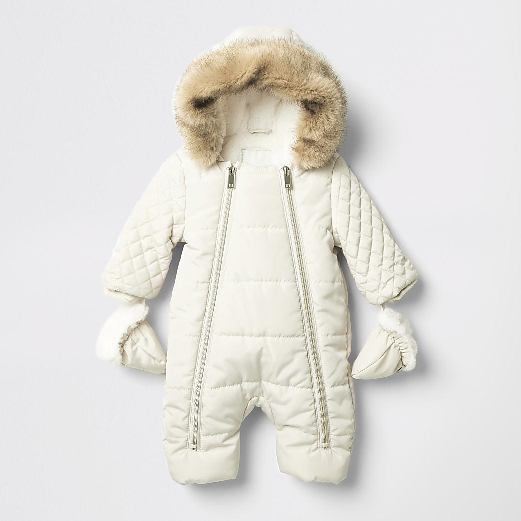 Baby cream quilted zip front snowsuit