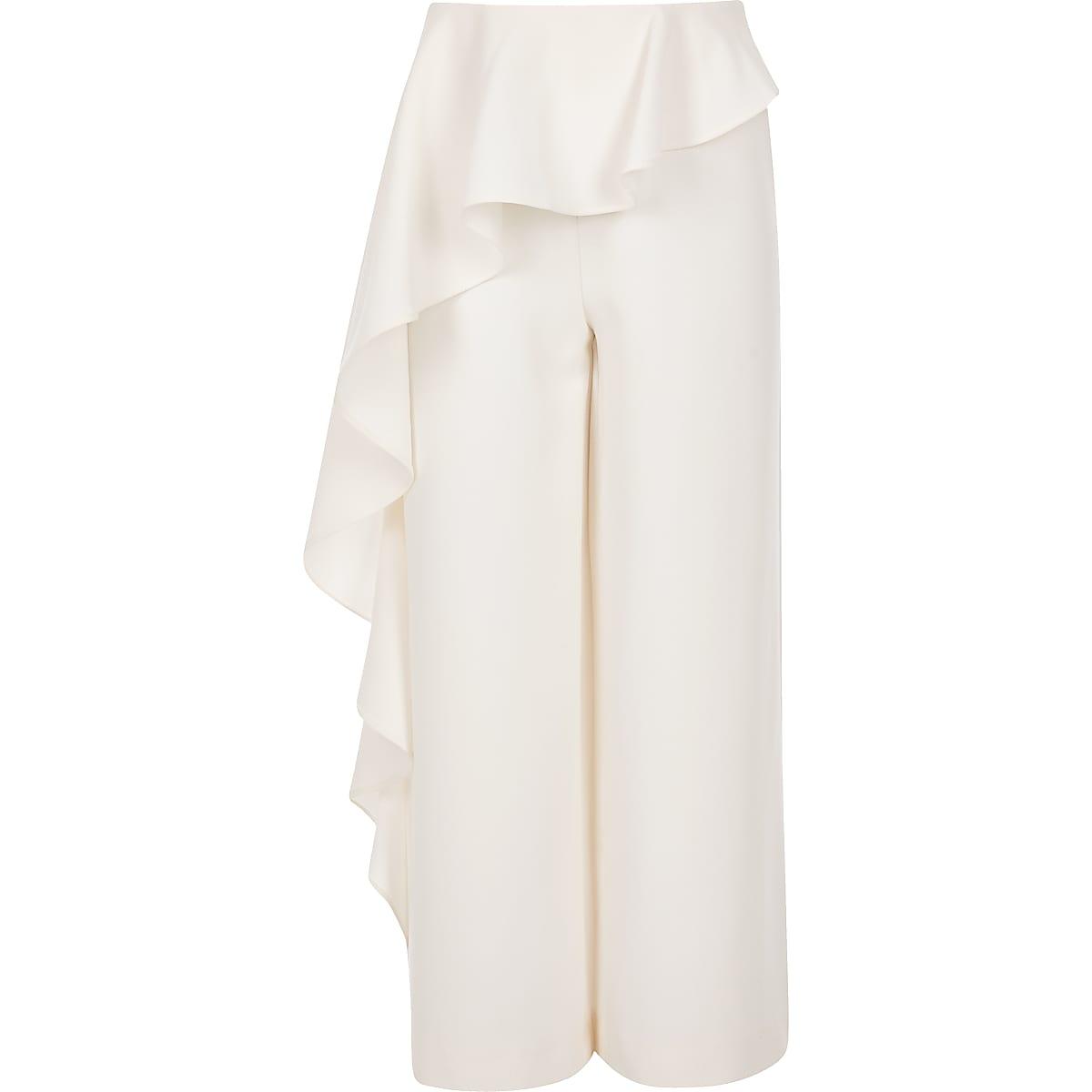 Girls cream frill trousers