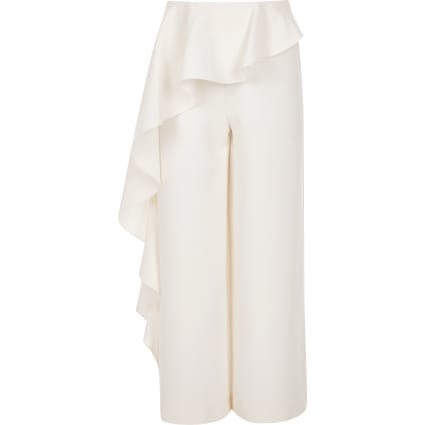 Girls cream frill trousers