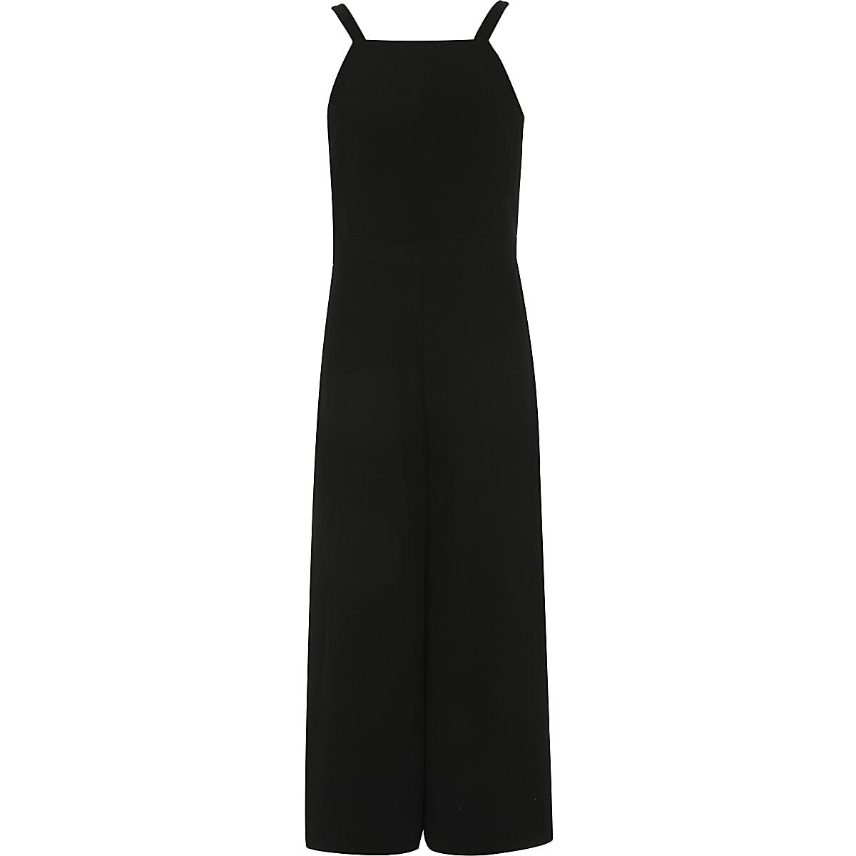 Zwarte jumpsuit met rechte pijpen voor meisjes