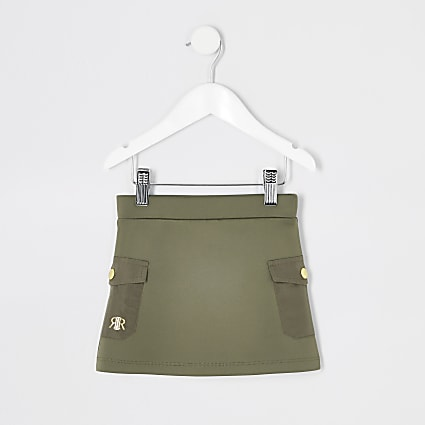 Mini girls khaki utility skirt