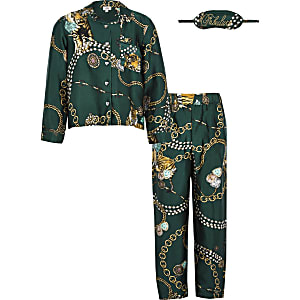 Groene satijnen familie pyjamaset met print voor meisjes