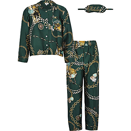 Girls green satin printed family pyjama set