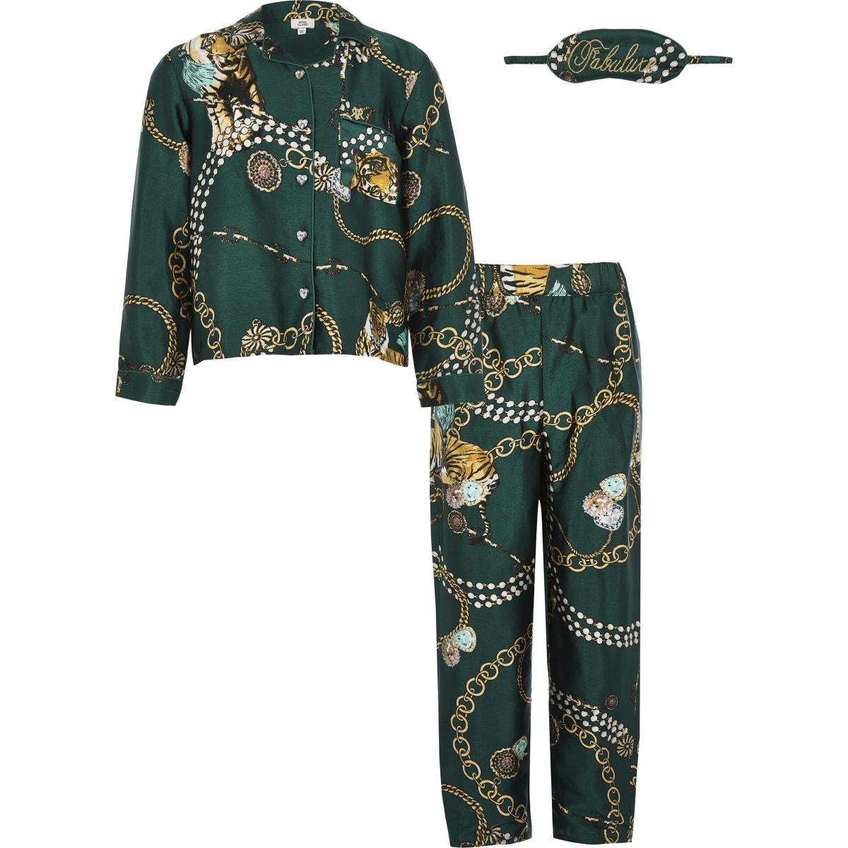 Outfit met groene satijnen twinning pyjama voor meisjes