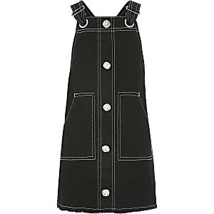 Girls black contrast stitch pinafore dress