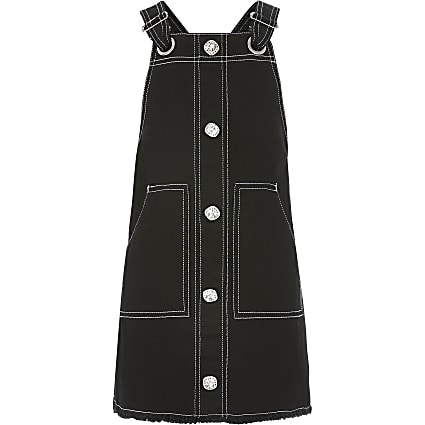 Girls black contrast stitch pinafore dress